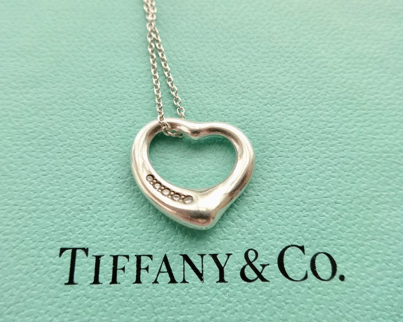 a4c5cfeffab73 Authentic Tiffany & Co. Elsa Peretti Open Heart with Five | Etsy