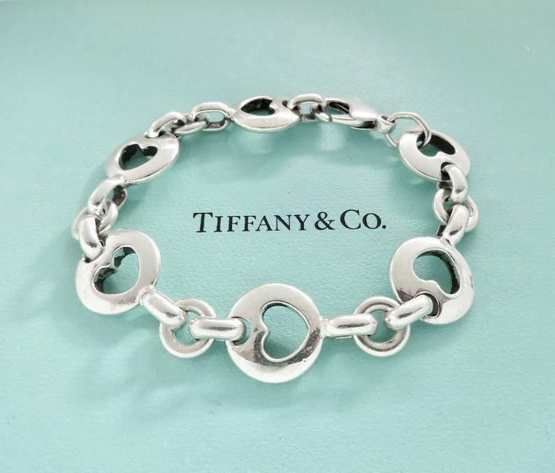 ffa3f7052855d Authentic Tiffany & Co. Vintage Retired Stencil Heart Sterling Silver  Bracelet