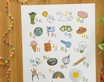 Alphabet Poster A-Z, Children Decor, Classroom Decor, Nursery Art