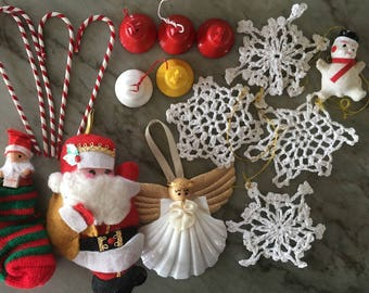 lot of 1950s christmas decorations lovely vintage plastic fabric wood etc ornaments for repurposing or display xmas holiday decorating santa