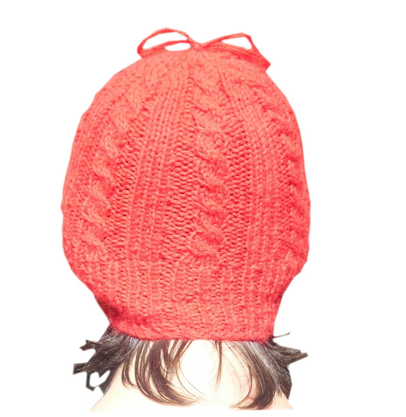 Beanie  red Hat 100/% Alpaca Wool Soft Handmade  warm boho ethnicBolivia