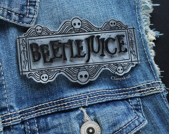 Beetlejuice brooch. Beetlejuice. Tim Burton brooch. Gothic. Gothic brooch. Halloween.
