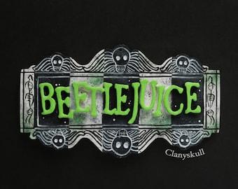 Beetlejuice magnet. Beetlejuice. Tim Burton magnet. Gothic decor. Gothic. Gothic magnet. Magnet. Decor.