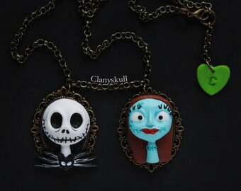 Jack and Sally necklace. Nightmare Before Christmas. Jack necklace. Jack Skellington necklace. Sally necklace. Couple necklace. Tim Burton.