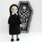 Amigurumi Wednesday Addams. Family addams. Amigurumi family addams. Wednesday Addams. Amigurumi doll. Gothic.