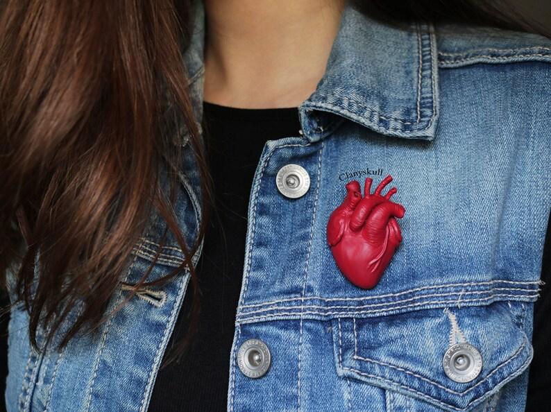 Anatomy heart brooch. Human heart brooch. Anatomy heart. Human image 0
