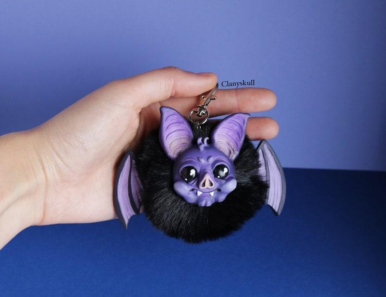 Bat keychain. Bat. Pompon keychain. Kawaii keychain. Hairy image 0