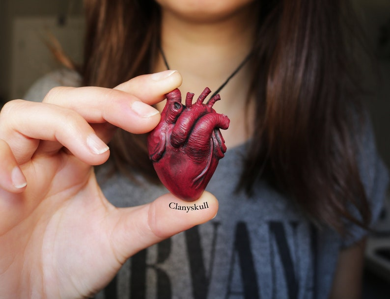 Anatomical heart necklace. Human heart necklace. Anatomical image 0
