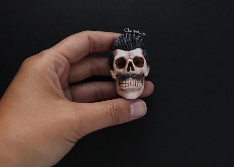 Skull with mustache brooch. Skull. Gothic brooch. Gothic. image 0