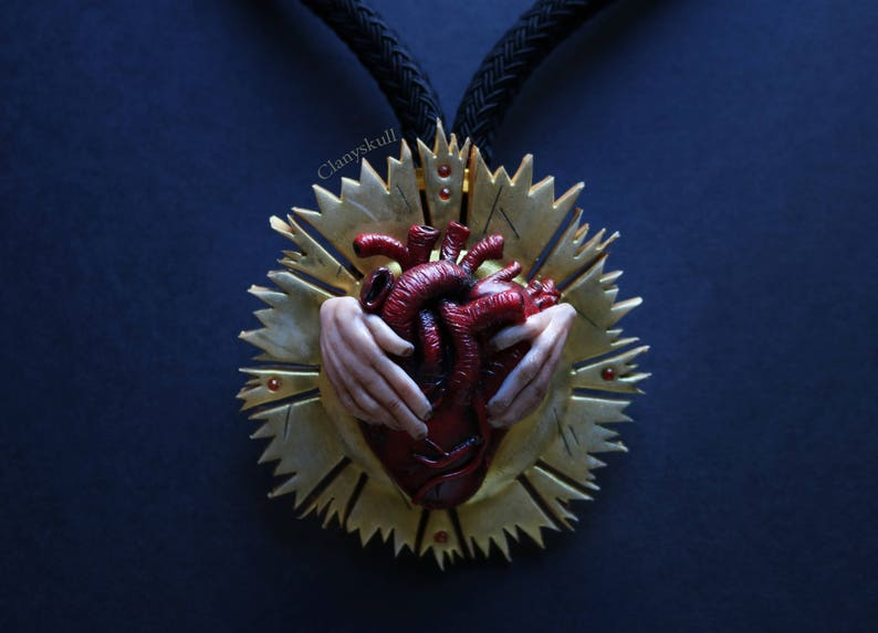 Human heart. Gothic. Gothic necklace. Human heart necklace. image 0