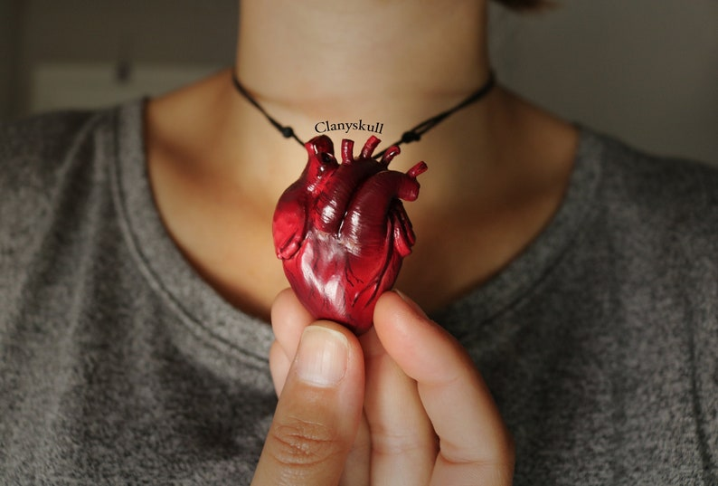 Anatomy heart necklace. Human heart necklace. Anatomy heart. image 0