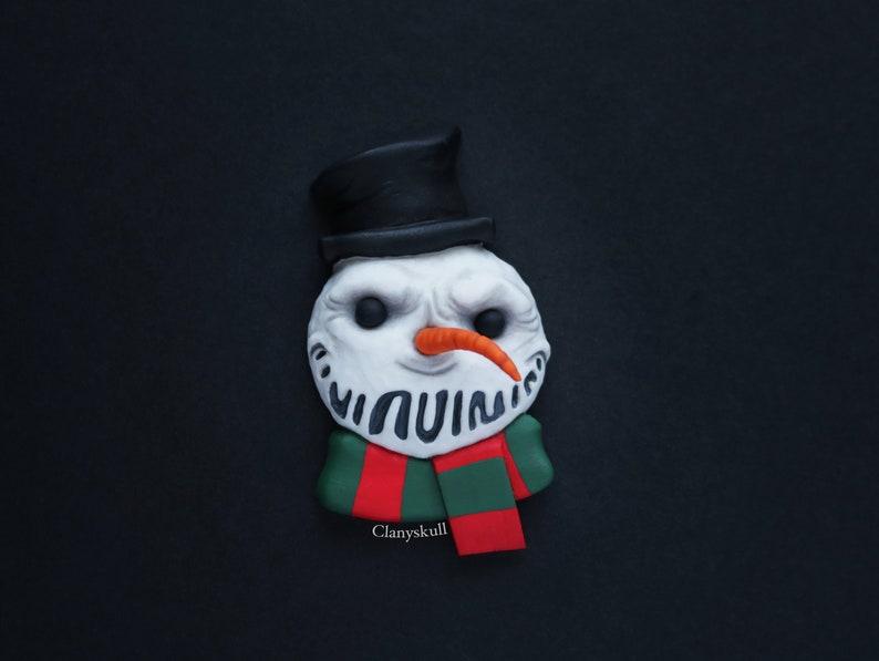 Magnet for fridge. Evil snowman. Evil snowman magnet. Snowman. image 0
