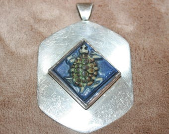 Ceramic and Mexican Sterling Silver Turtle Pendant Large Bale