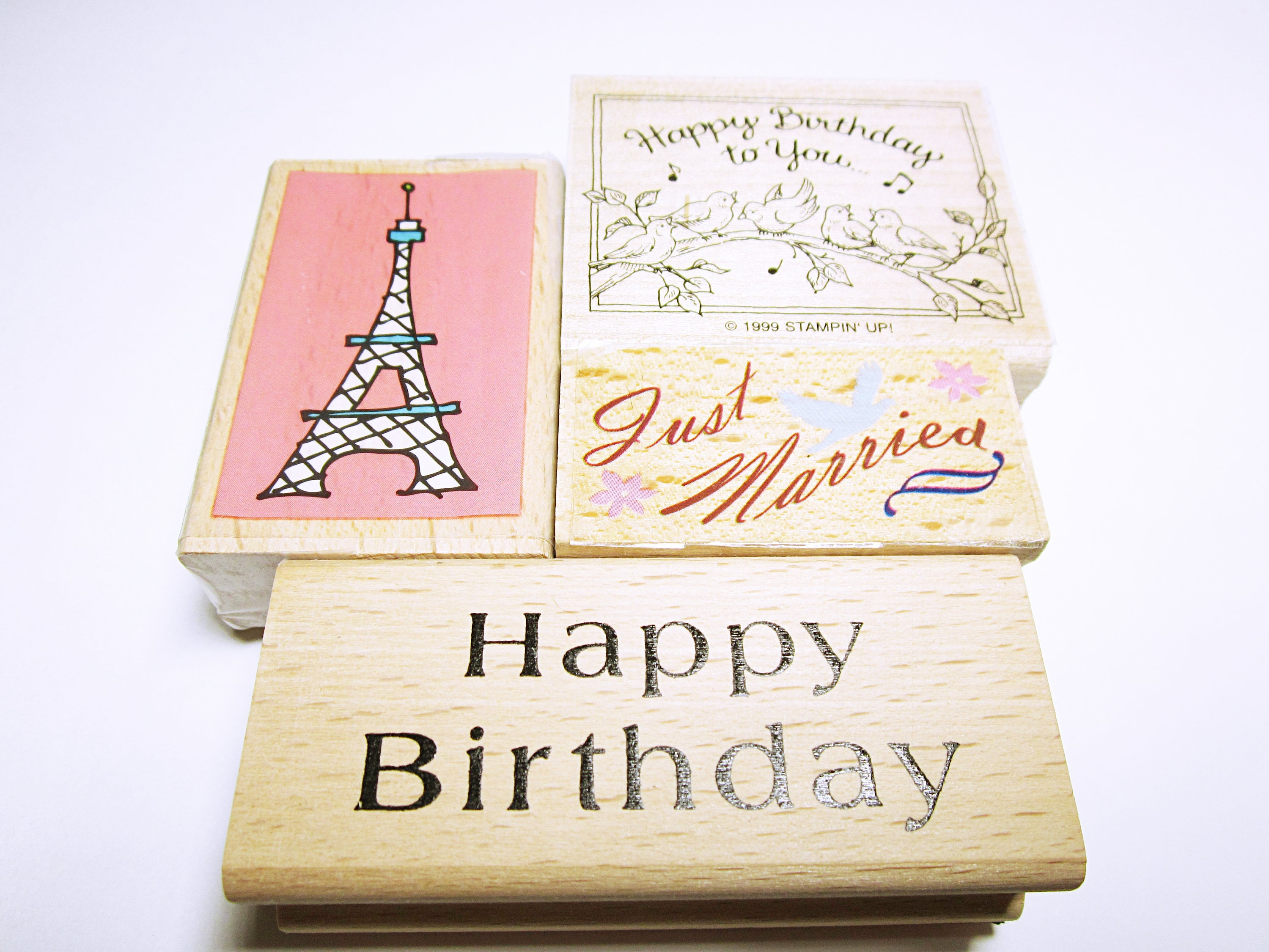 RUBBER STAMPS ASSORTED Wedding Birthday Quote Eiffel Tower Rubber ...