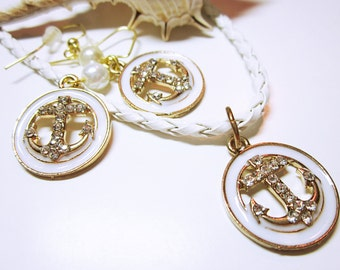 NAUTICAL JEWELRY Gold Rhinestone Crusted Anchors Enamelled Round White Base Earrings With White Pearl Accents Gift Idea For Her