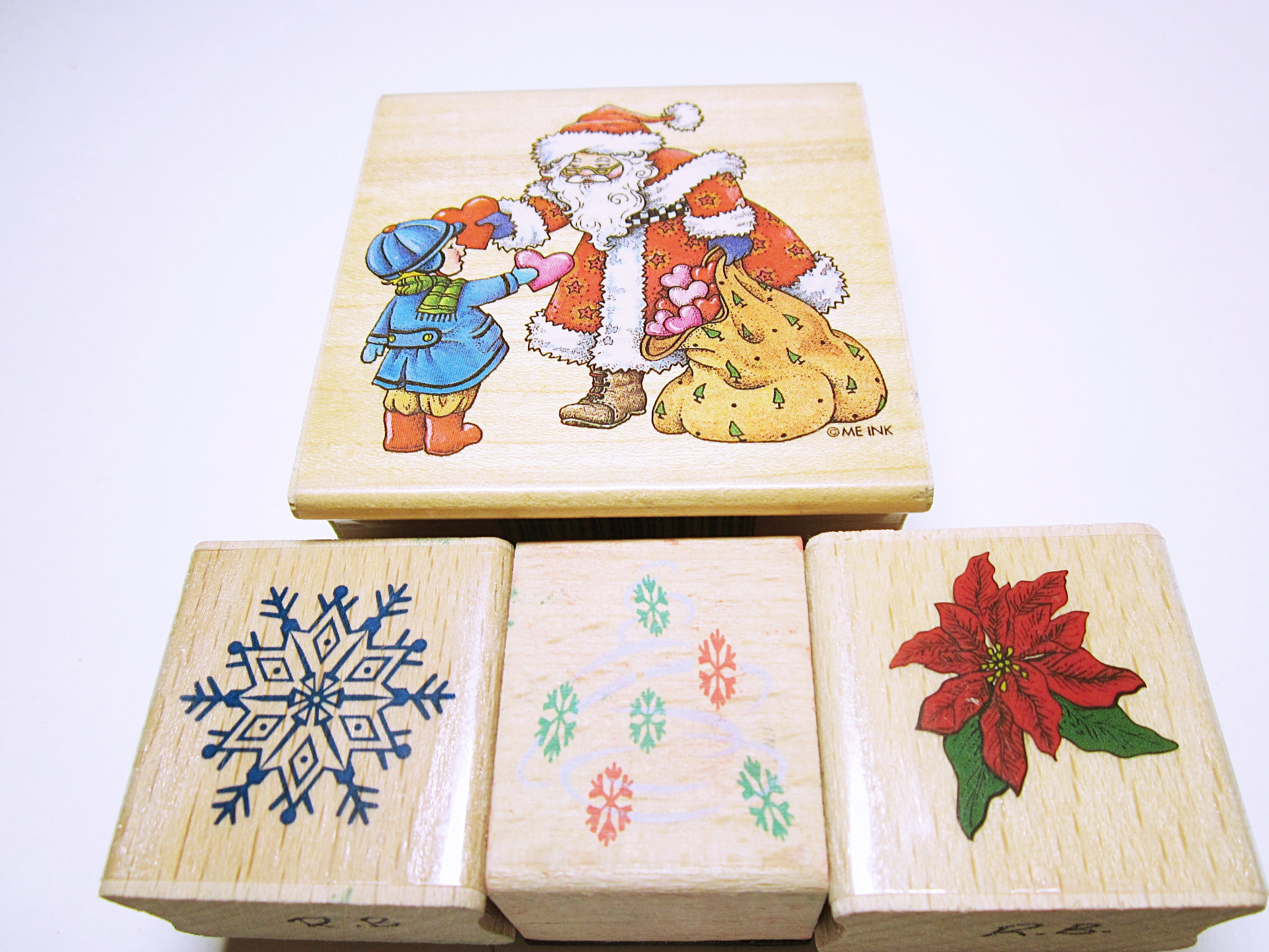 Assorted Christmas Stamps Rubber Stamp Set Card Making | Etsy