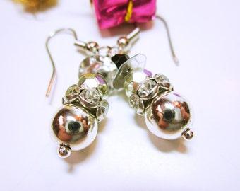 Silver Snowman Earrings Beaded Christmas Snowman Dangles Christmas Earrings Holiday Jewelry CHRISTMAS JEWELRY