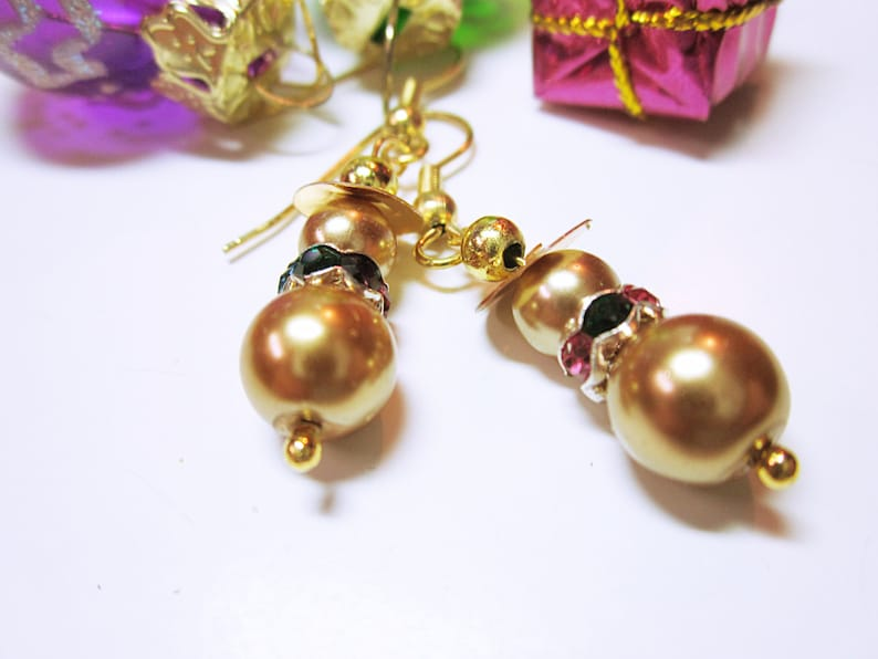 d569e004f257a Gold Snowman Earrings Snowman Dangles Gold Holiday Dangles Glass Pearl  Beaded Christmas Holiday Jewellery CHRISTMAS JEWELRY