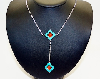 Turquose and Red Agate Sterling Silver Statement Necklace