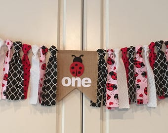 High Chair Banner Ladybug 1st Birthday Smash Cake First Photo Prop I Am One Adorable Room Decor