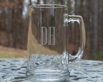 Beer Mug, 1 monogrammed glass etched beer mug, personalized, wedding party mugs, housewarming or birthday gift