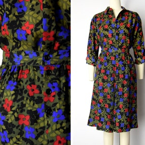 High waist pleated skirt and button up blouse set Matching set with garden print Spring summer skirt blouse set Vintage 70s two piece set