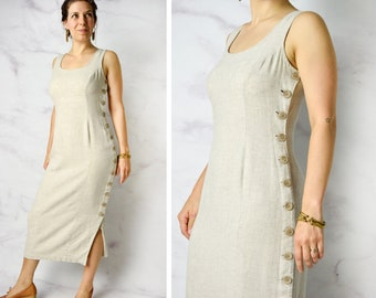 0a79dbf12d5 1990s Natural Linen   Tencel   Rayon Blend Sheath Dress with Side Buttons  28