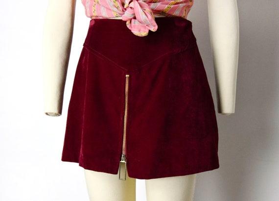 1960s Mod Velvet Mini Skort Size Small Zip Front M