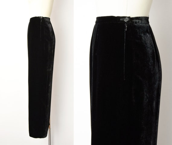 1990s Rayon Silk Velvet Trousers Size Small 90s V… - image 2