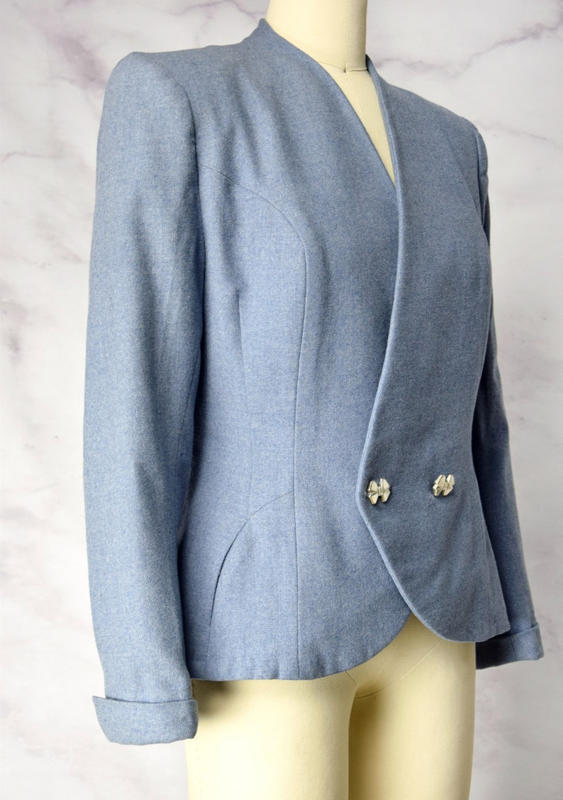 1940s Blue Blazer  Jacket with Bow Buttons by Knobby Koats Size S  SM