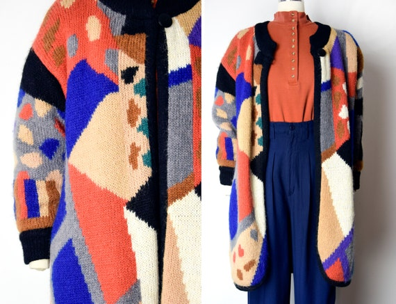 1980s Knit Cocoon Sweater Jacket 80s Abstract Knit
