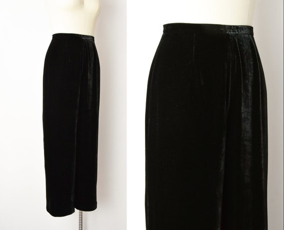 1990s Rayon Silk Velvet Trousers Size Small 90s V… - image 3