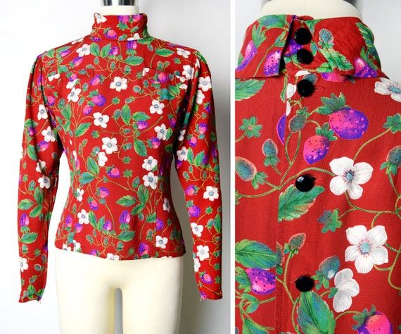 1970s Emanuel Ungaro Blouse Size XS 70s Strawberry