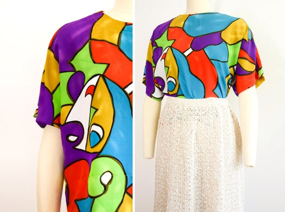 1990s Boxy Blouse Size Large Abstract Shirt Picass
