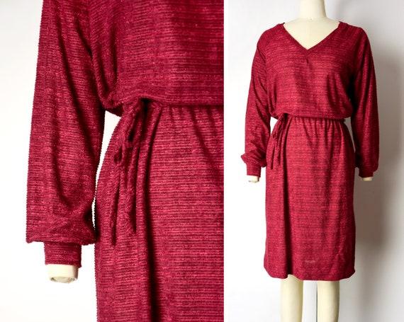 1970s Raspberry Day Dress Size XS 70s Long Sleeve