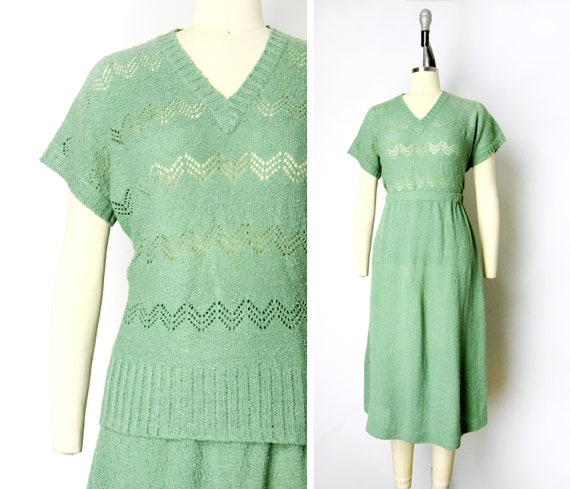 1970s Knit Set Size Medium 70s Pointelle Sweater S
