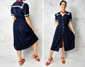 "1980s Sailor Dress in Navy Blue Rayon 23"" - 27"" Waist"
