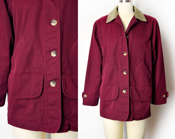 1990s Wine Chore Jacket Size Small 90s Burgundy Vi