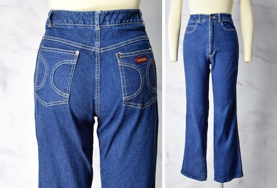 1970s High Waisted Dark Wash Denim Jeans Size