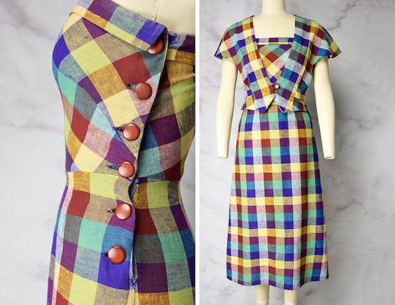Early 1940s Linen Sundress with Capelet in Rainbow