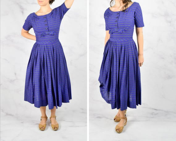 1950s Striped Silk Noil Dress by Parade New York 2