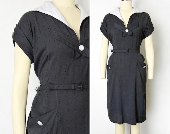 1950s Sheath Dress Size Large Pinup Pocket Dress E