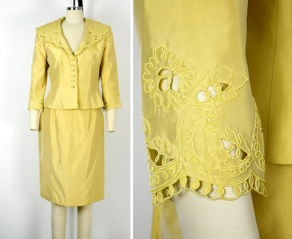 1980s Victor Costa Skirt Suit Size Medium Yellow S