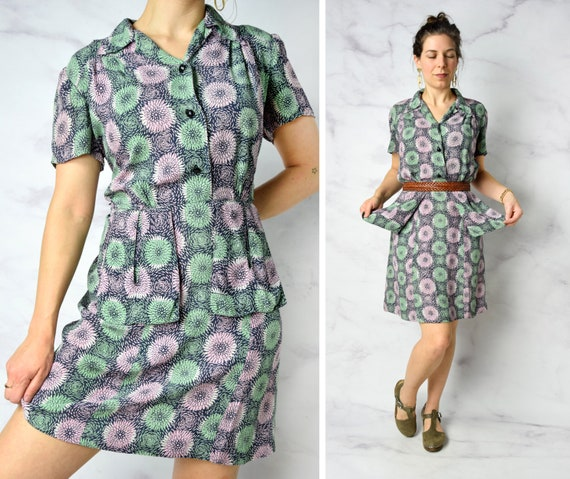 1940s Chrysanthemum Print Cold Rayon Day Dress 31""