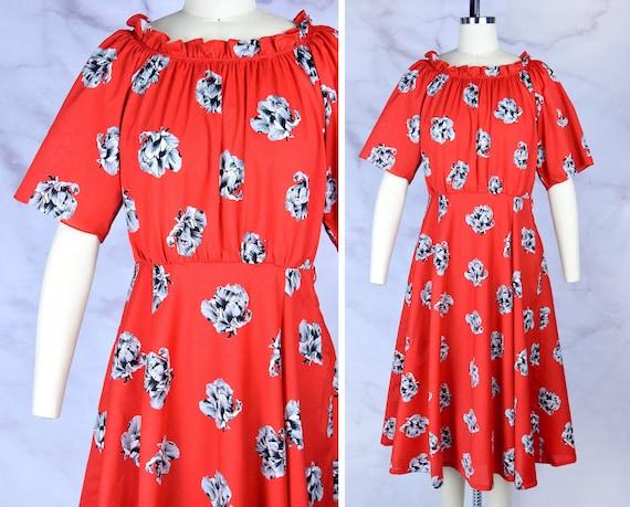 1970s Scarlet Botanicals Dress in Poppy / Peonie P