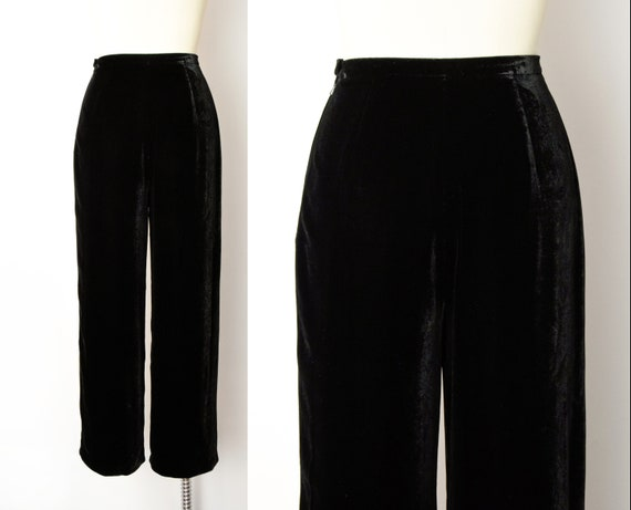 1990s Rayon Silk Velvet Trousers Size Small 90s V… - image 4