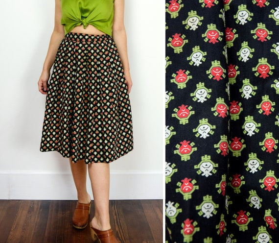 1950s Cotton Skirt Size XS Abstract Floral Pleated