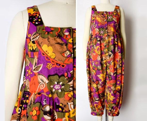 1980s Floral Cotton Jumpsuit Size XS 80s Harem Jum