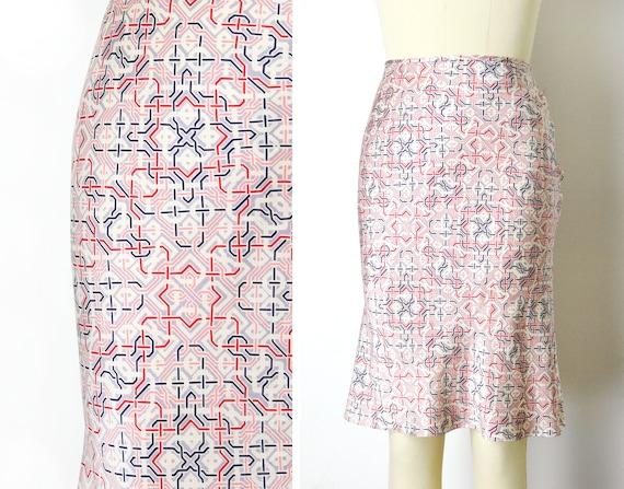 1990s Silk Slip Skirt Size Small Geometric Print B
