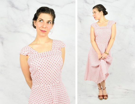 178dfd26bac 1950s Seersucker Sundress with Star Shaped Floral Pattern
